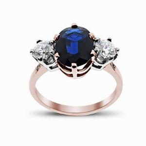 Sapphire & Diamond Rose Gold Three Stone Ring 11 x 9 mm